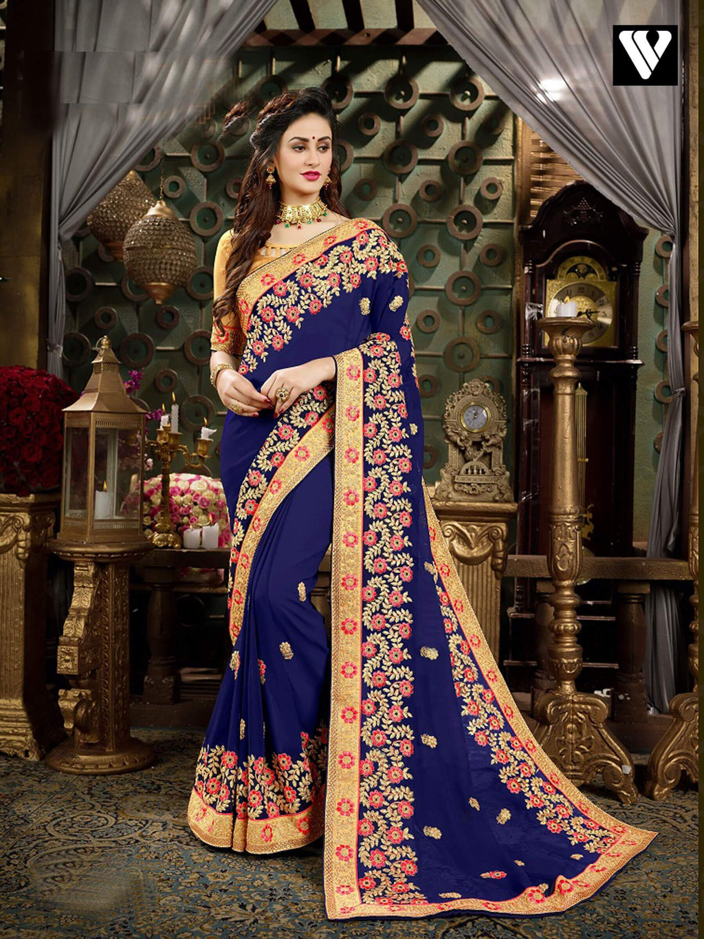 Unique Style Party Wear Georgette Saree In Multi Color