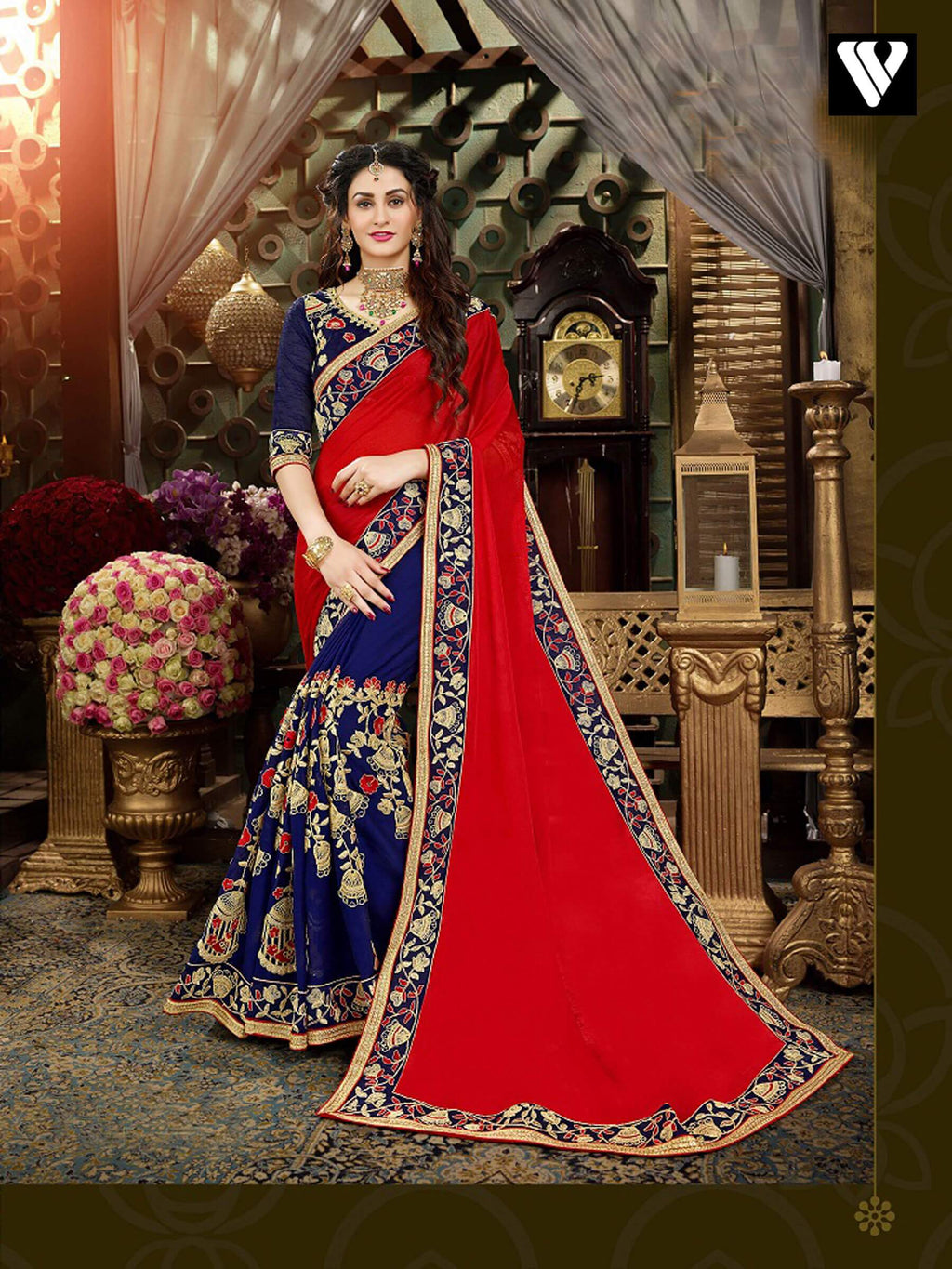 Red Color Party Wear Style Georgette Saree