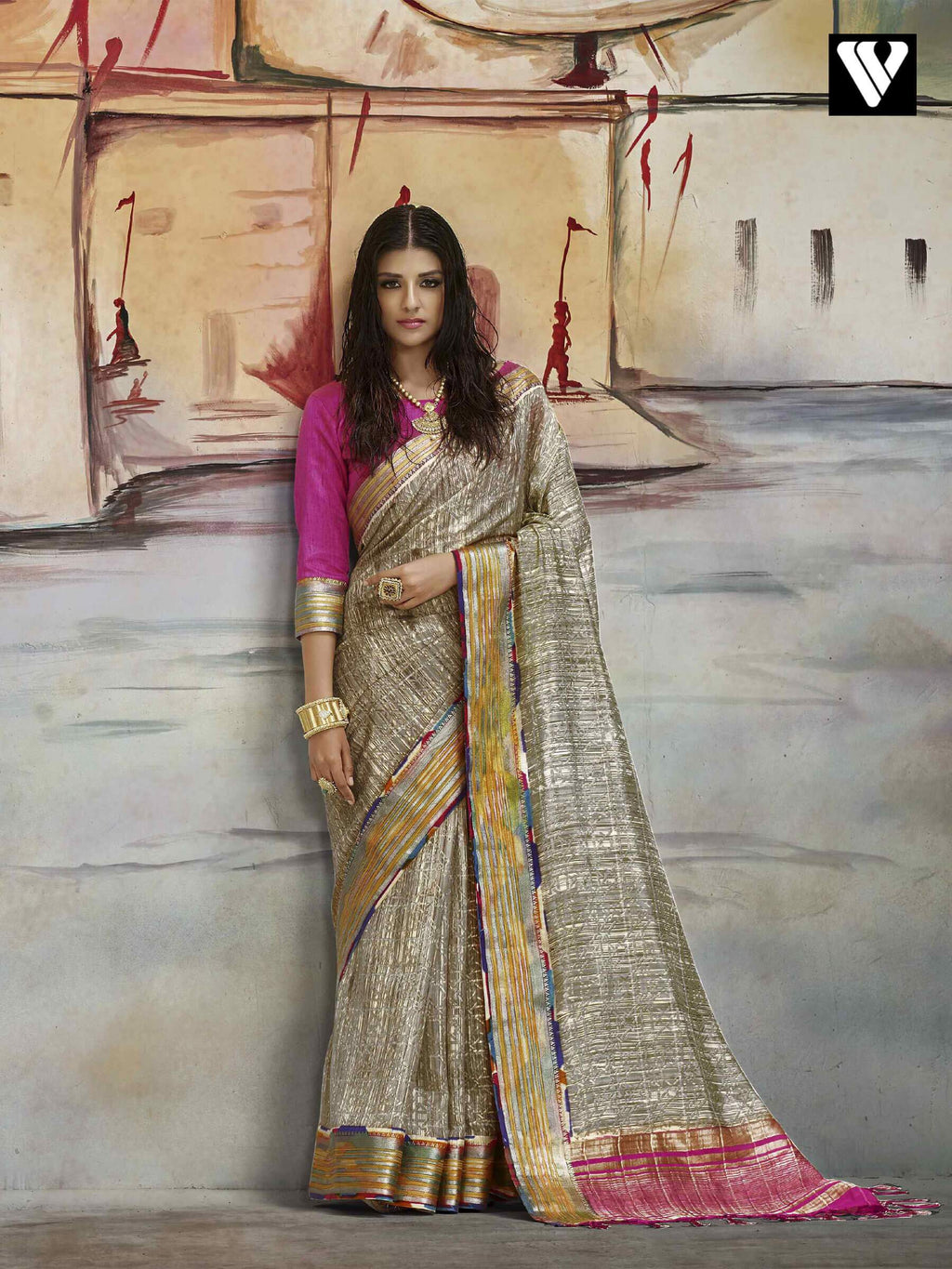 Casual Wear Nylon Printed Silk Saree In Light Brown