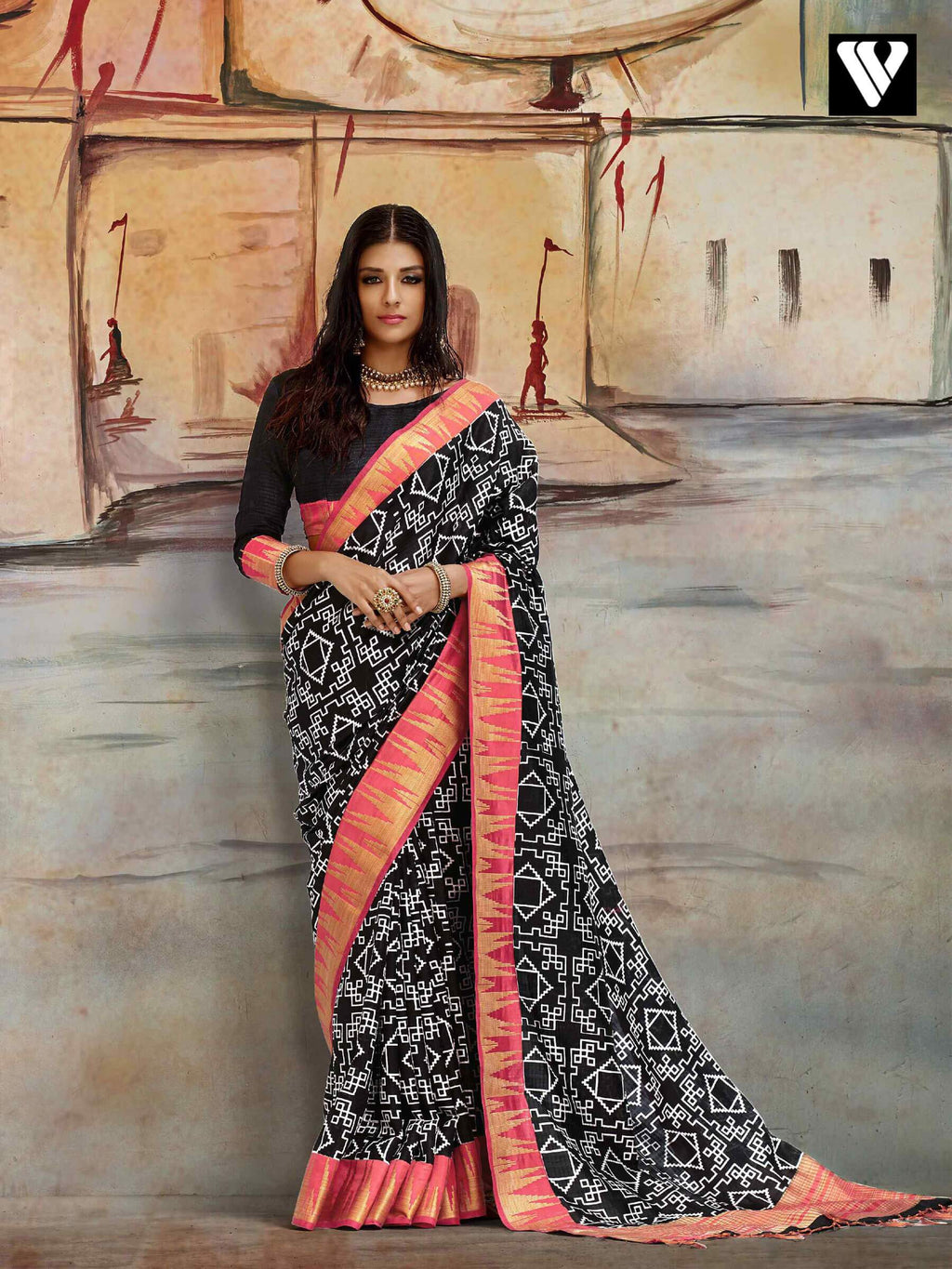 Amazing Casual Wear Nylon Printed Silk Saree In Black