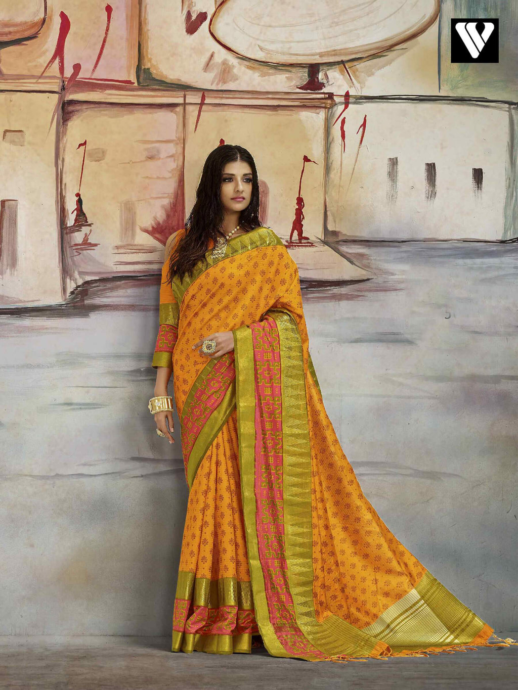Unique Style Casual Wear Nylon Printed Silk Saree In Orange