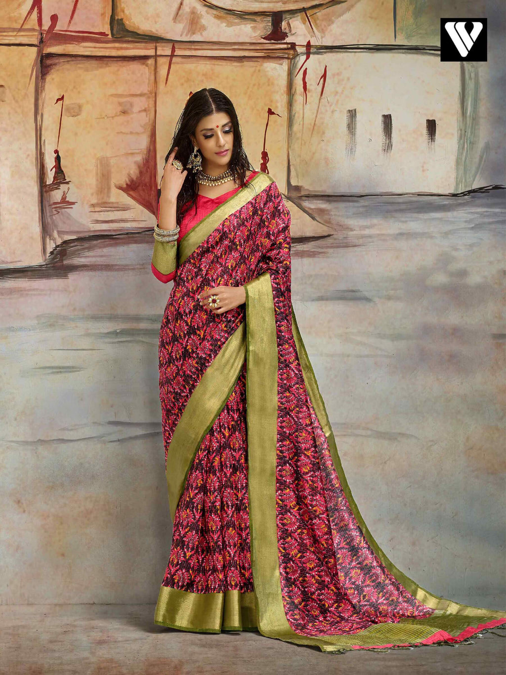 Fashionable Casual Wear Nylon Printed Silk Saree In Multi Color