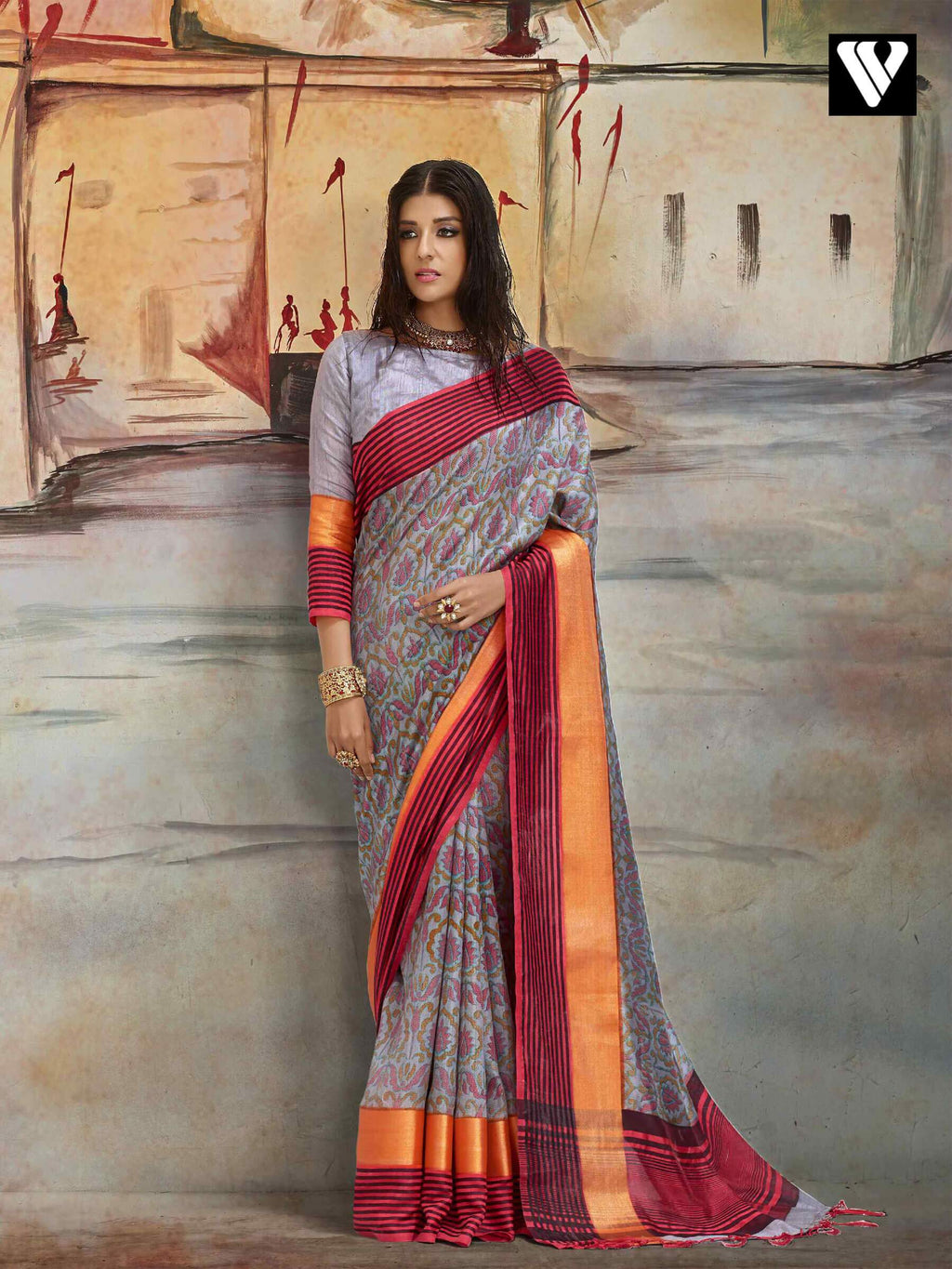 Casual Wear Nylon Printed Silk Saree In Grey