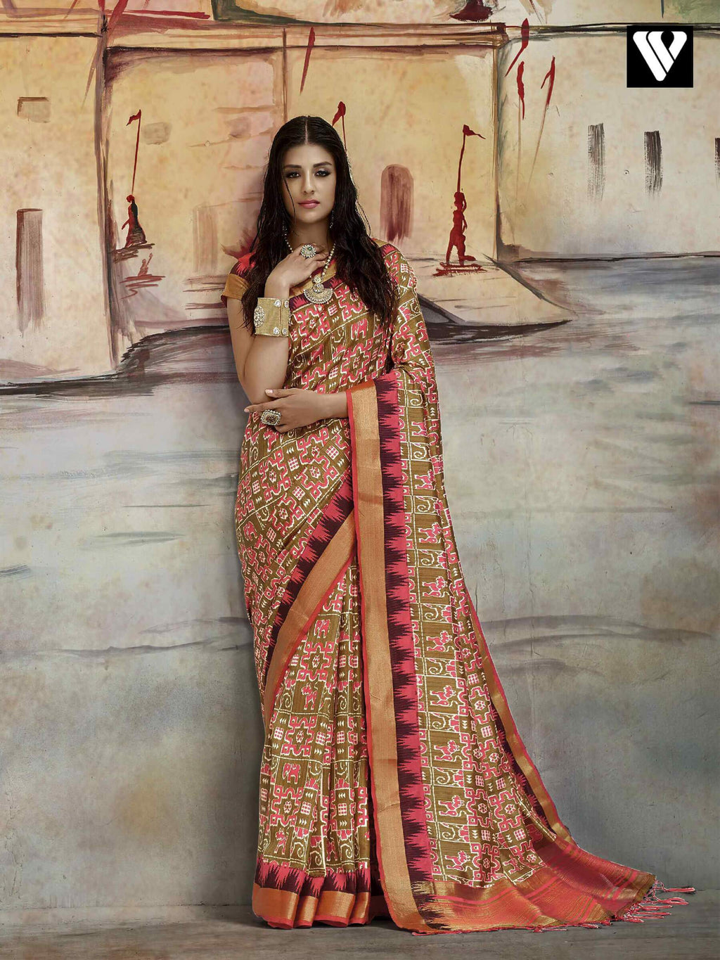 Designer Casual Wear Nylon Printed Silk Saree In Multi Color