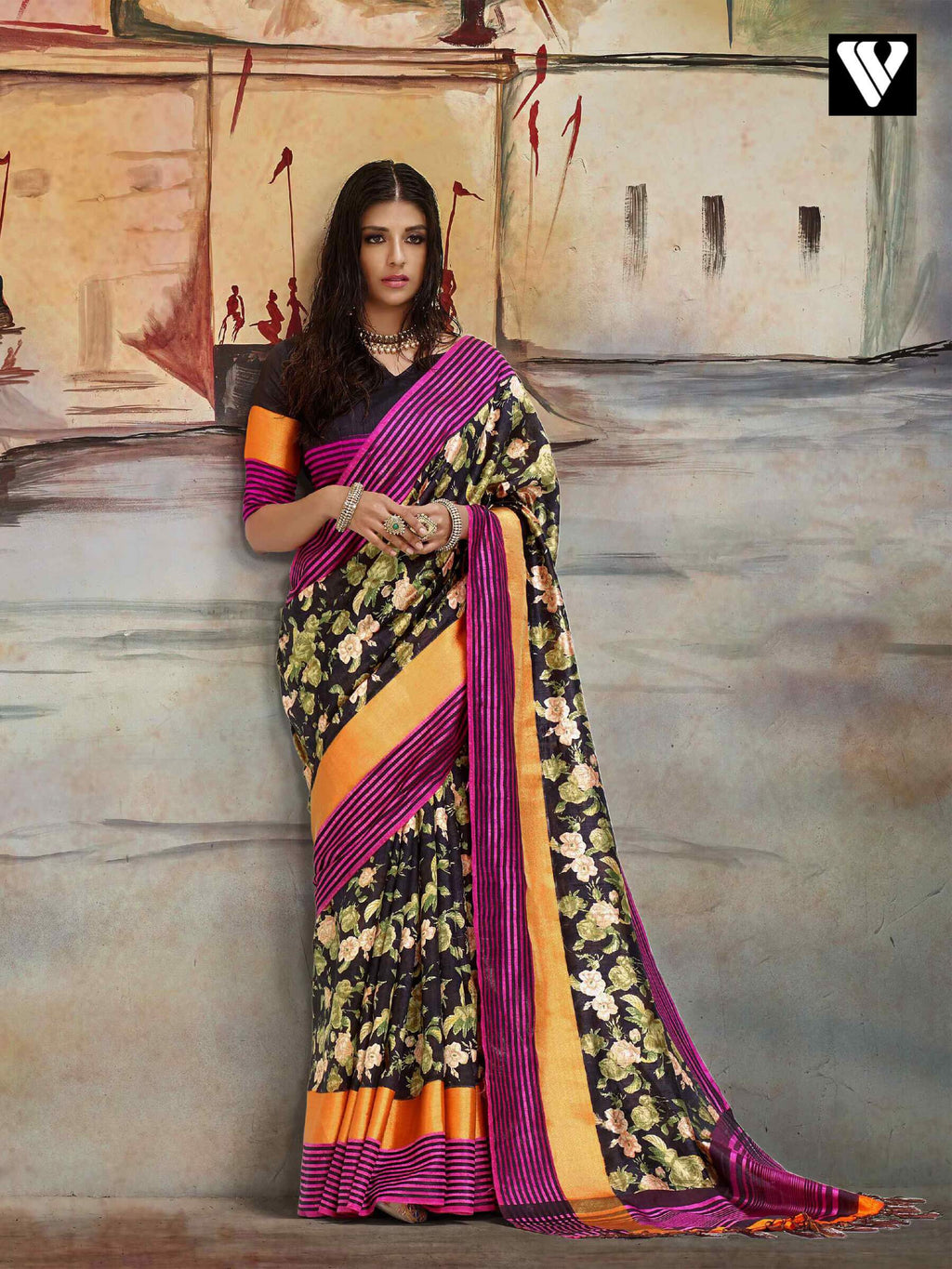 Casual Wear Nylon Printed Silk Saree In Multi Color