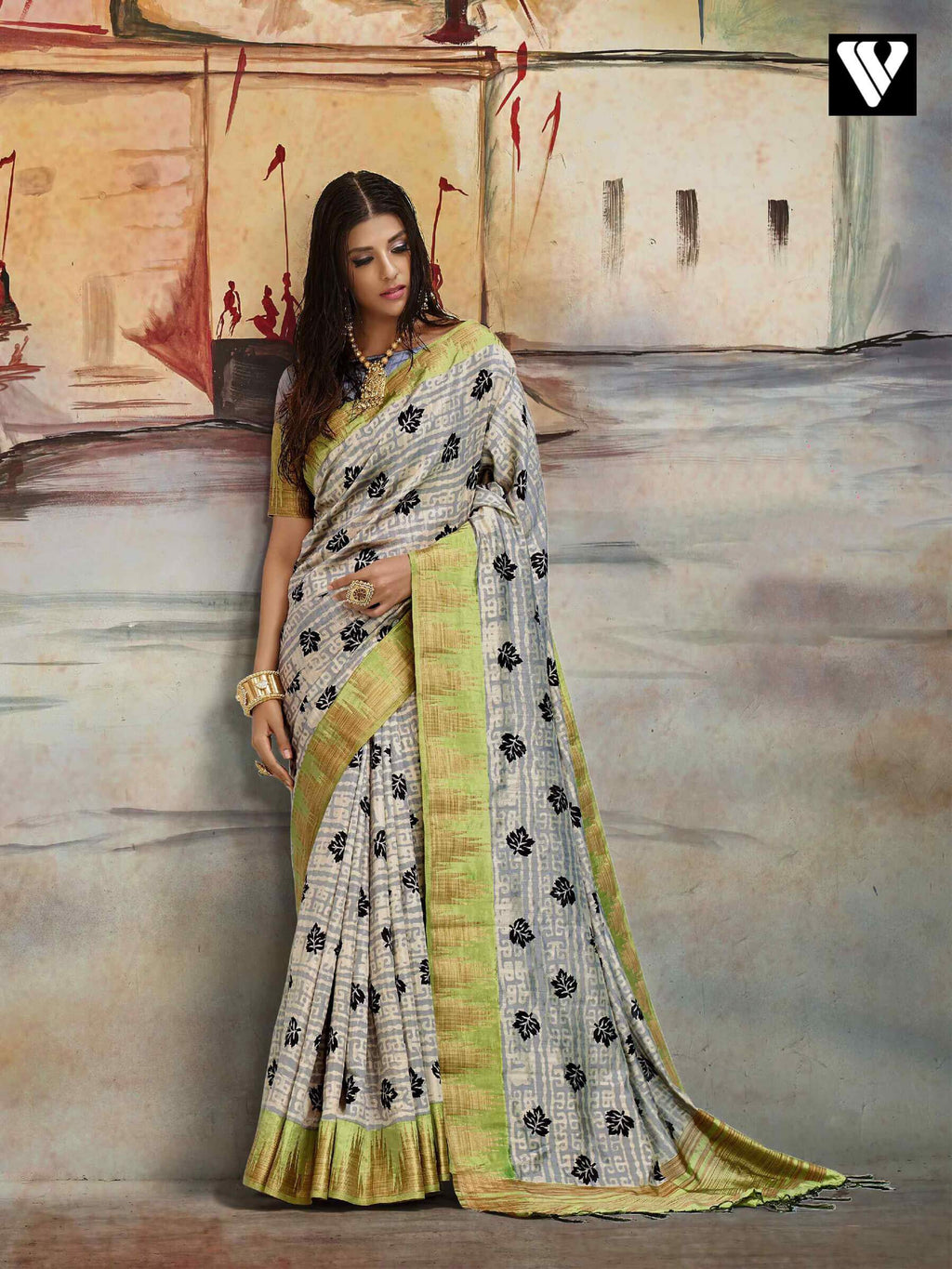 Fancy Casual Wear Nylon Printed Silk Saree In Grey