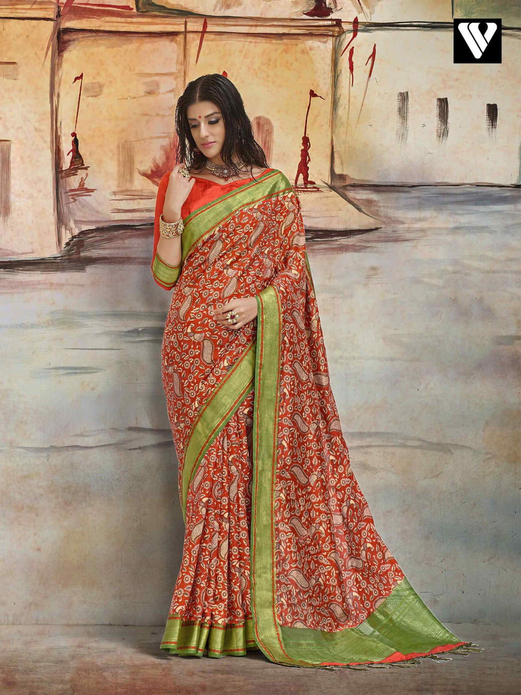 Casual Wear Nylon Printed Silk Saree In Orange