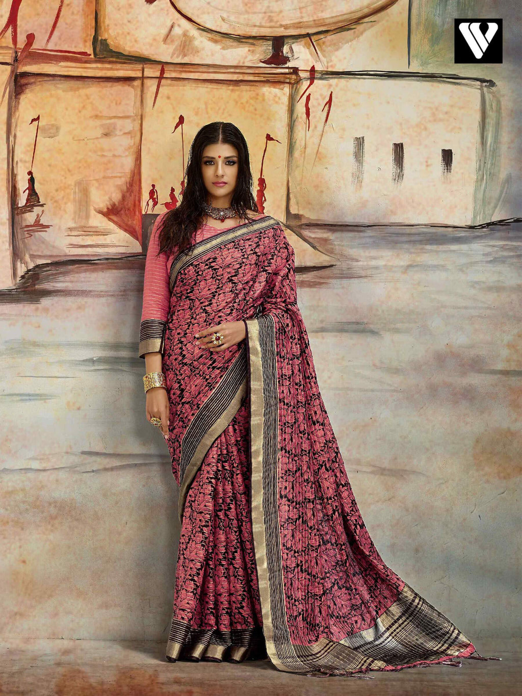 Casual Wear Nylon Printed Silk Saree In Pink