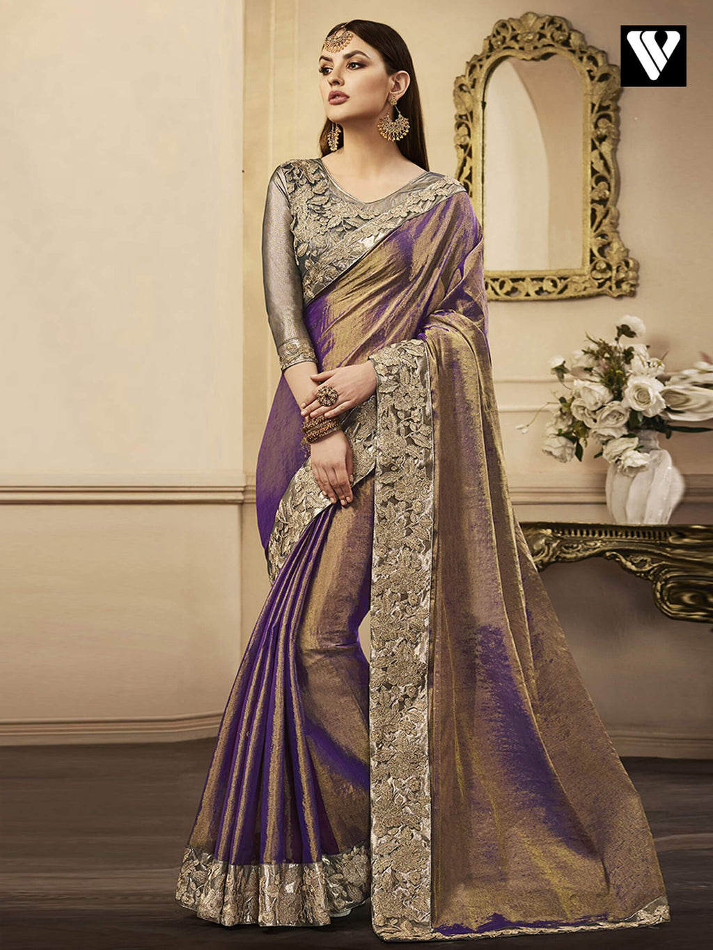 Purple Exclusive Designer Chandan Silk Saree