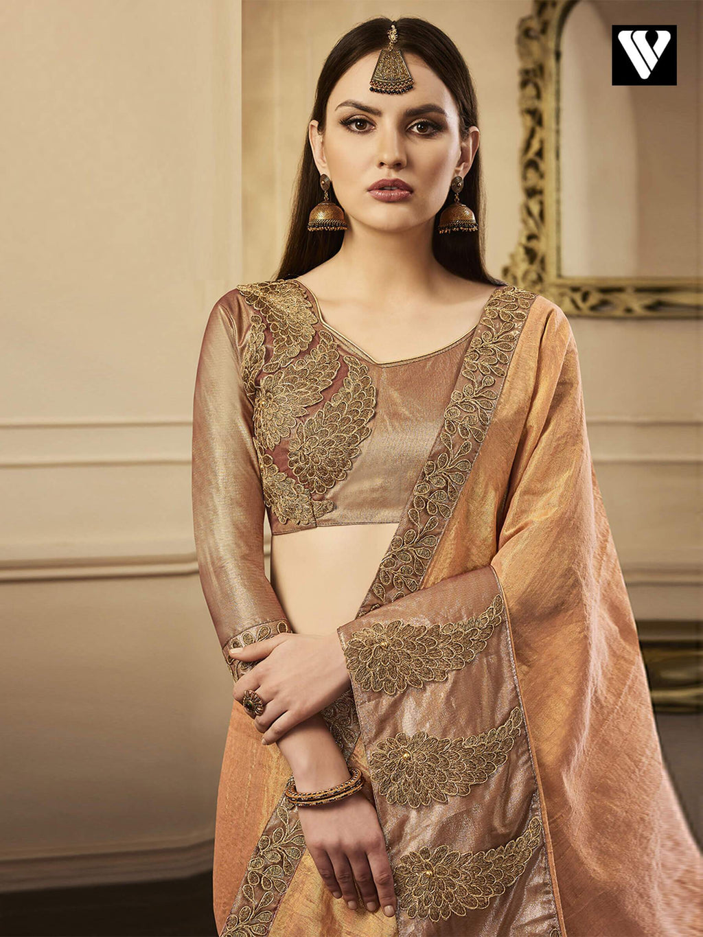 Unique Exclusive Designer Chandan Silk Saree In Peach