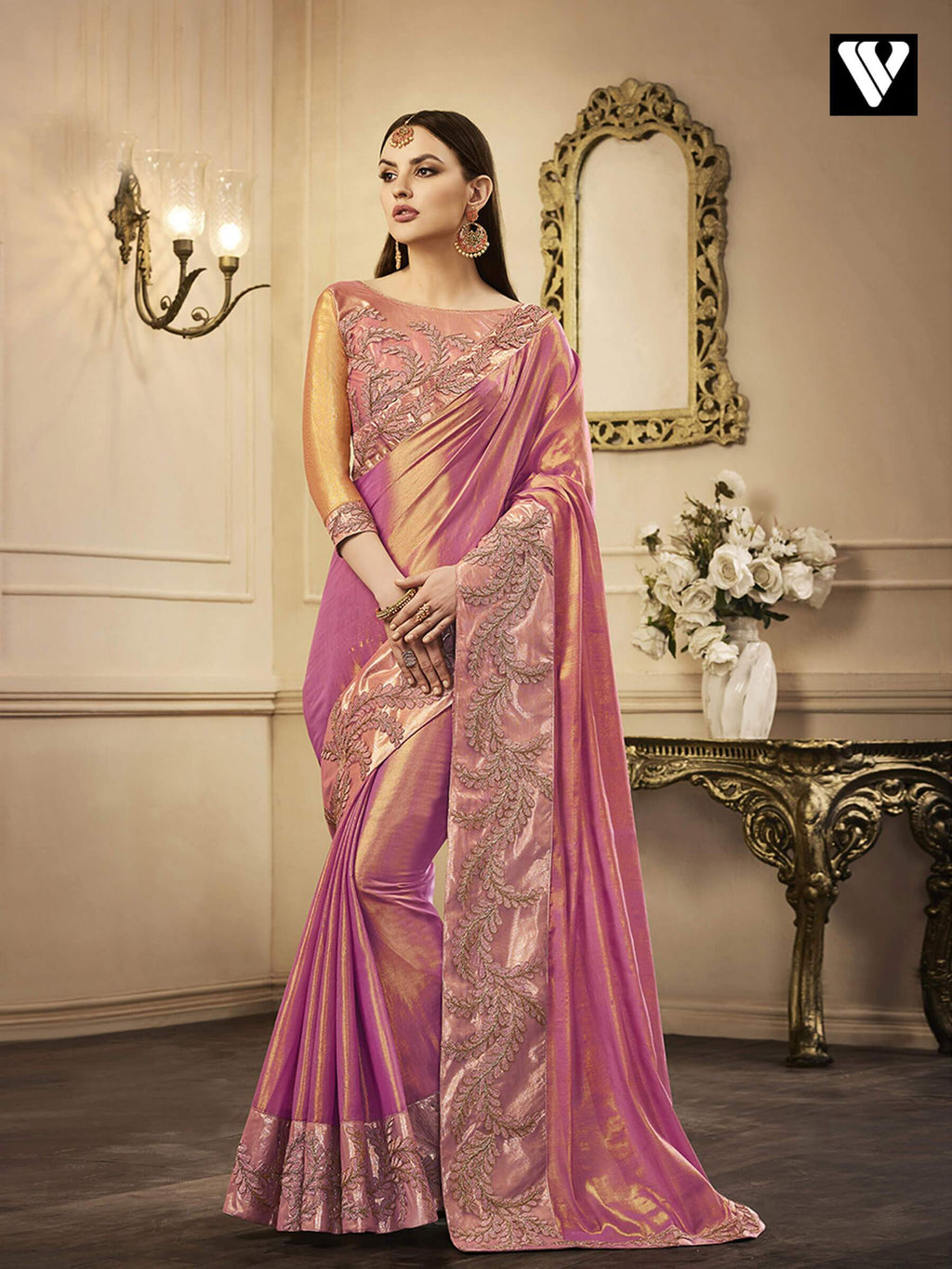 Amazing Exclusive Designer Chandan Silk Saree In Pink