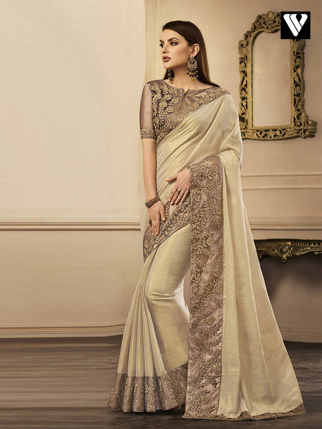 Wedding Wear Exclusive Designer Chandan Silk Saree In Cream