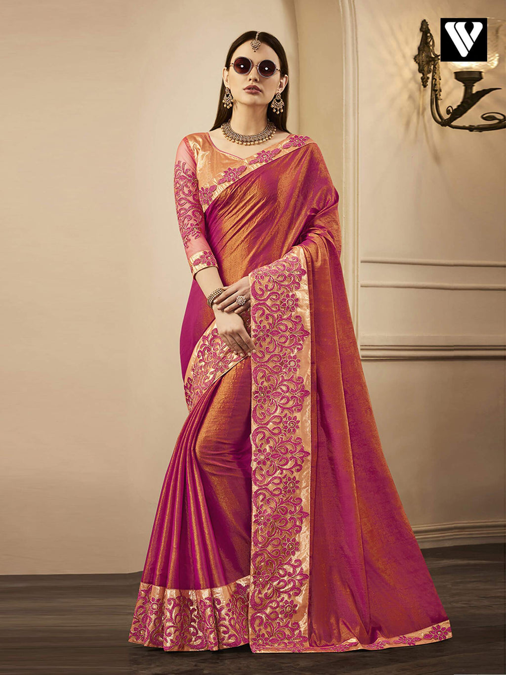 Wedding Wear Design Exclusive Designer Chandan Silk Saree Pink