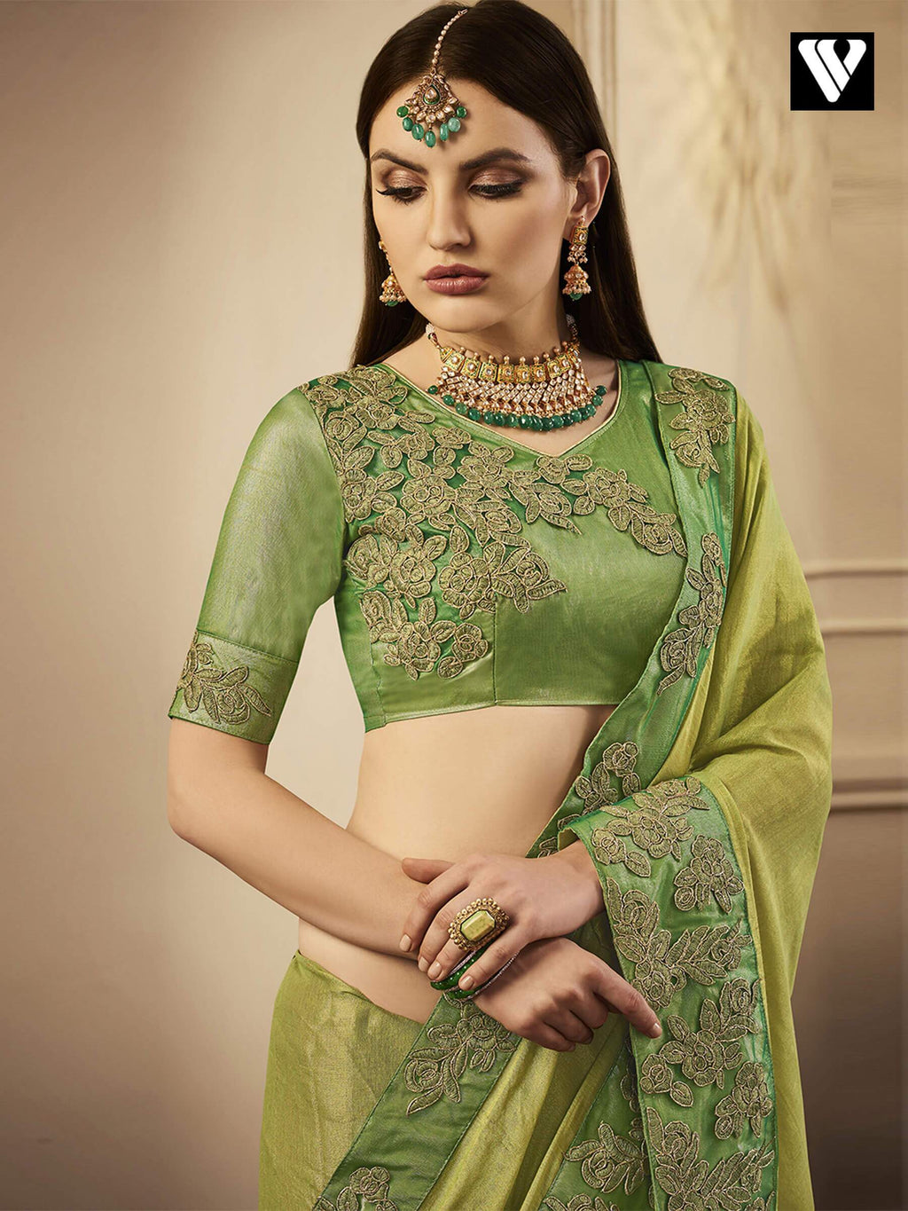 Exclusive Designer Chandan Silk Saree in Green