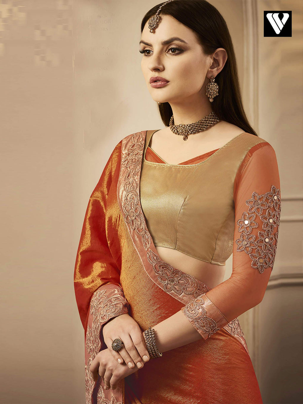 Exclusive Designer Chandan Silk Saree in Orange