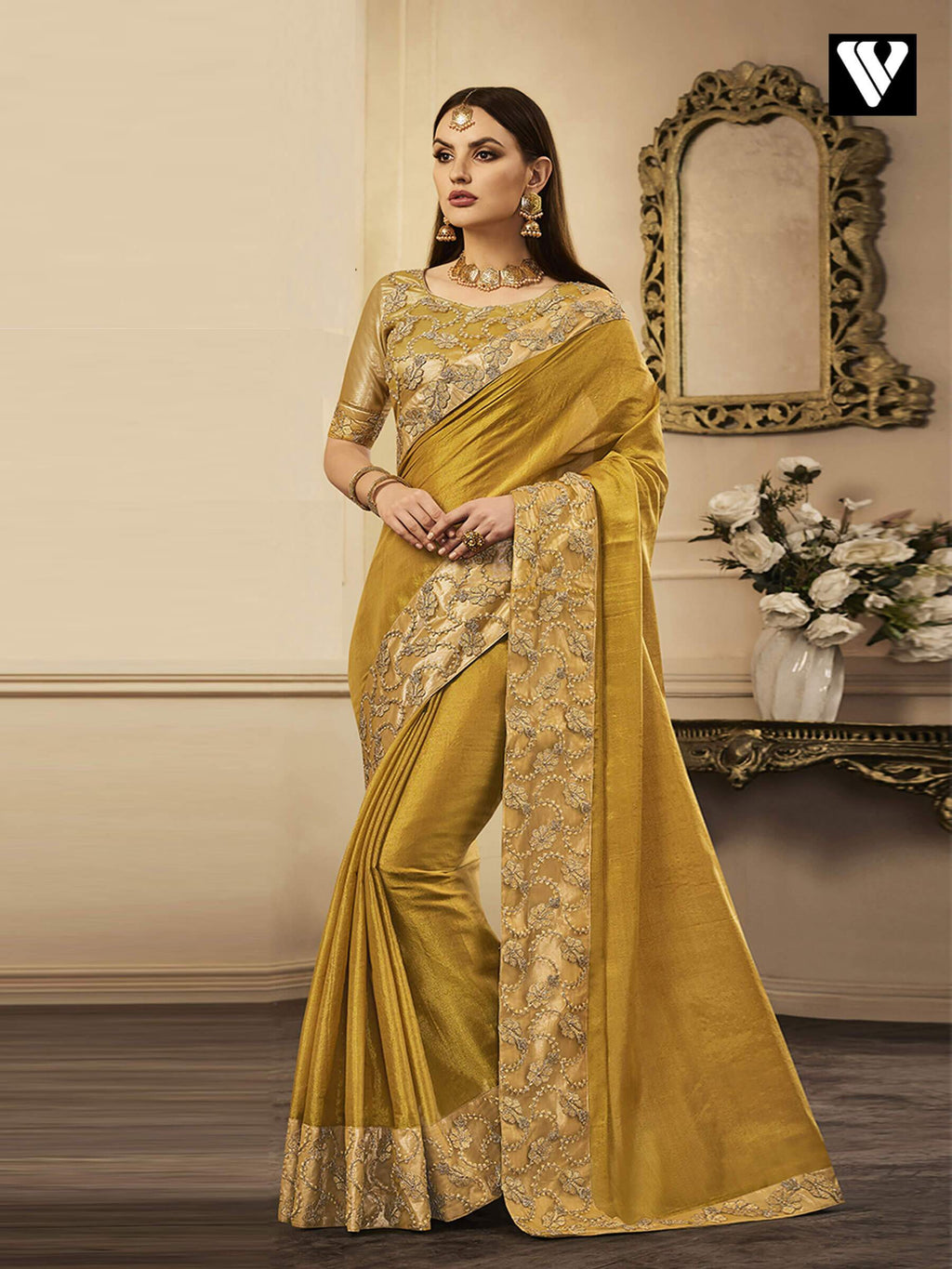 Dark Yellow Exclusive Designer Chandan Silk Saree