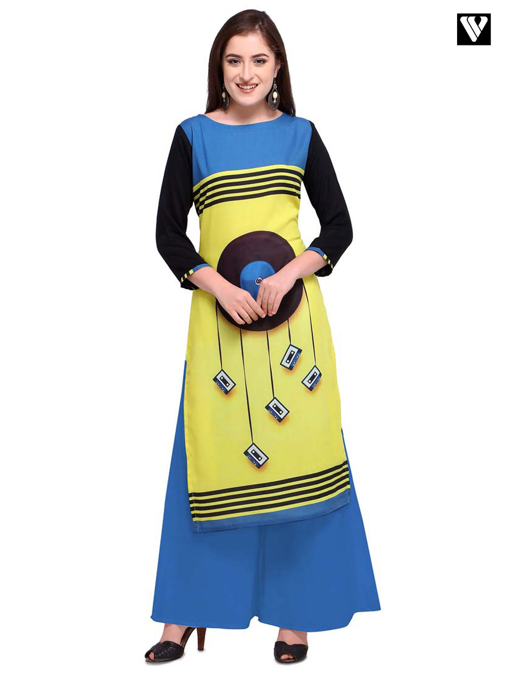 Digital Print Design Poly Cotton Multi Color Long Kurtis