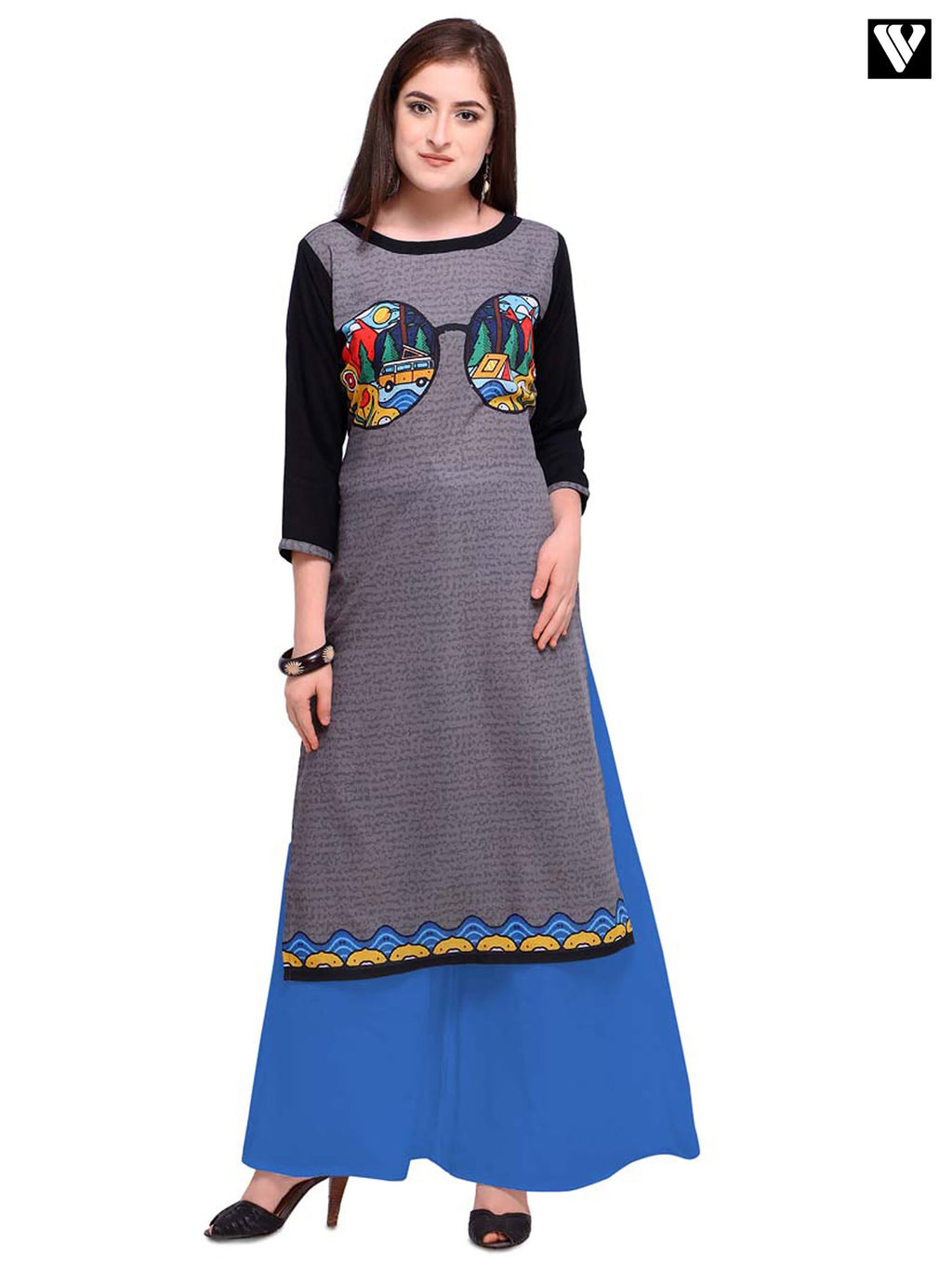 Latest Digital Print Design Poly Cotton Grey Long Kurtis