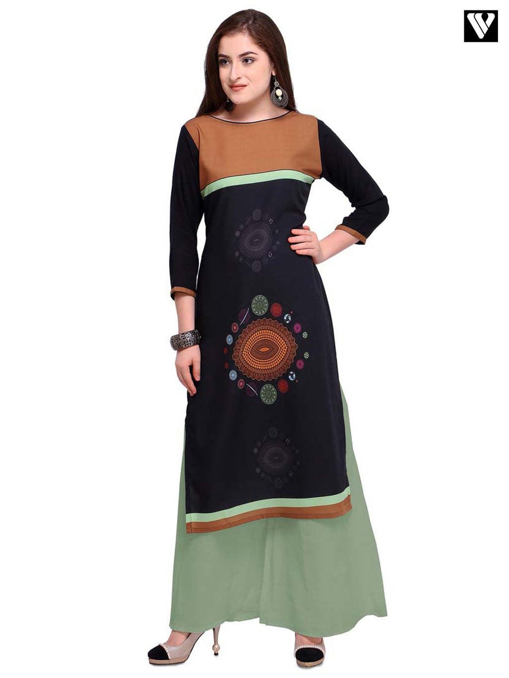 Full Sleeves Black Digital Print Design Long Kurtis