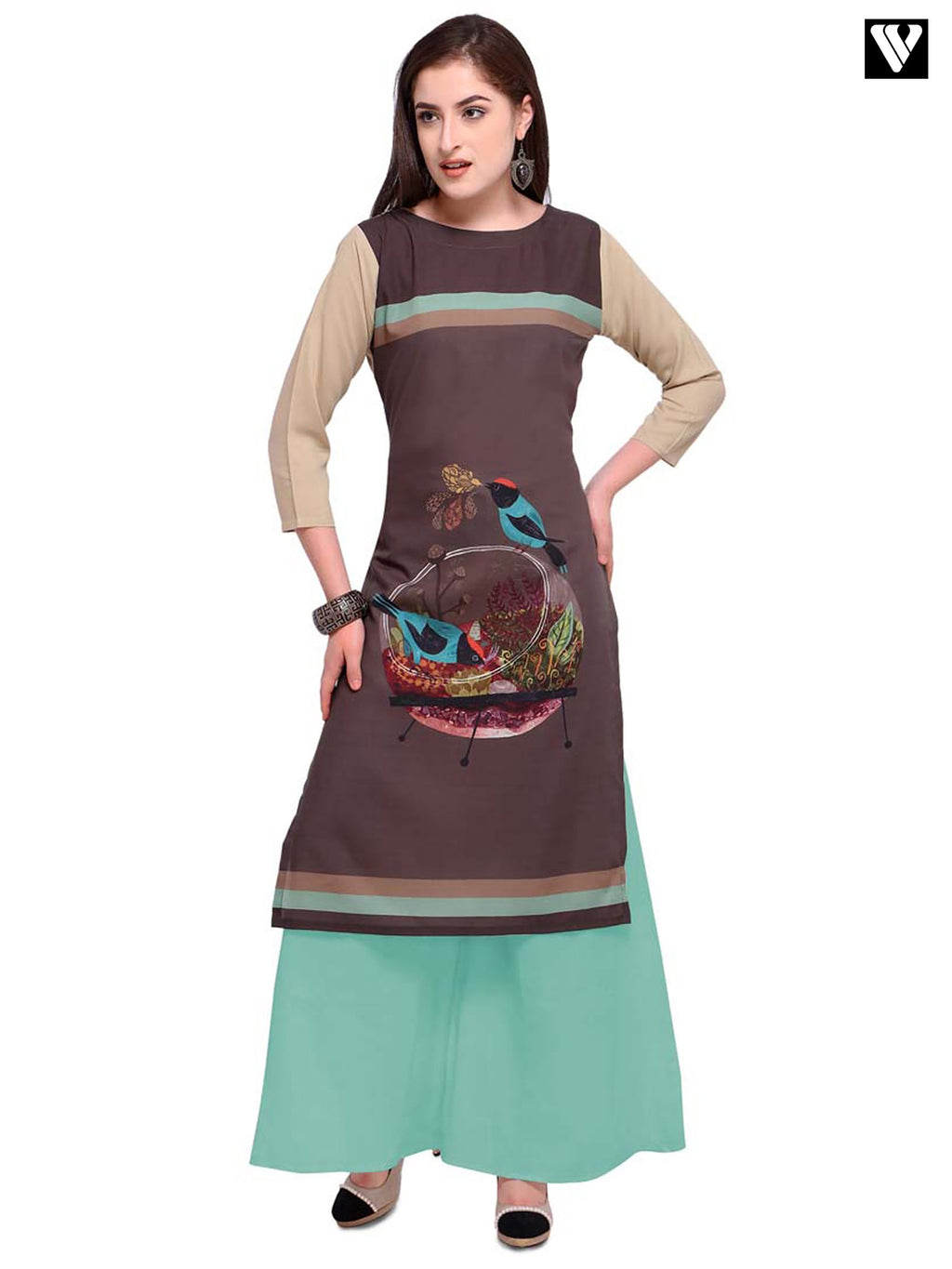 Poly Cotton Digital Print Brown Color Long Kurtis