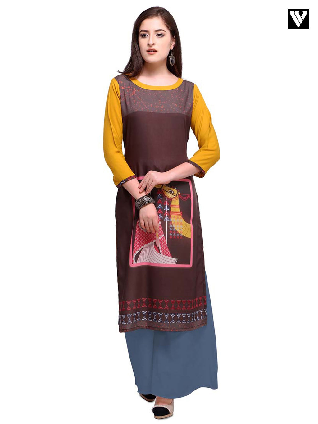 Digital Print Full Sleeves Brown Long Kurtis