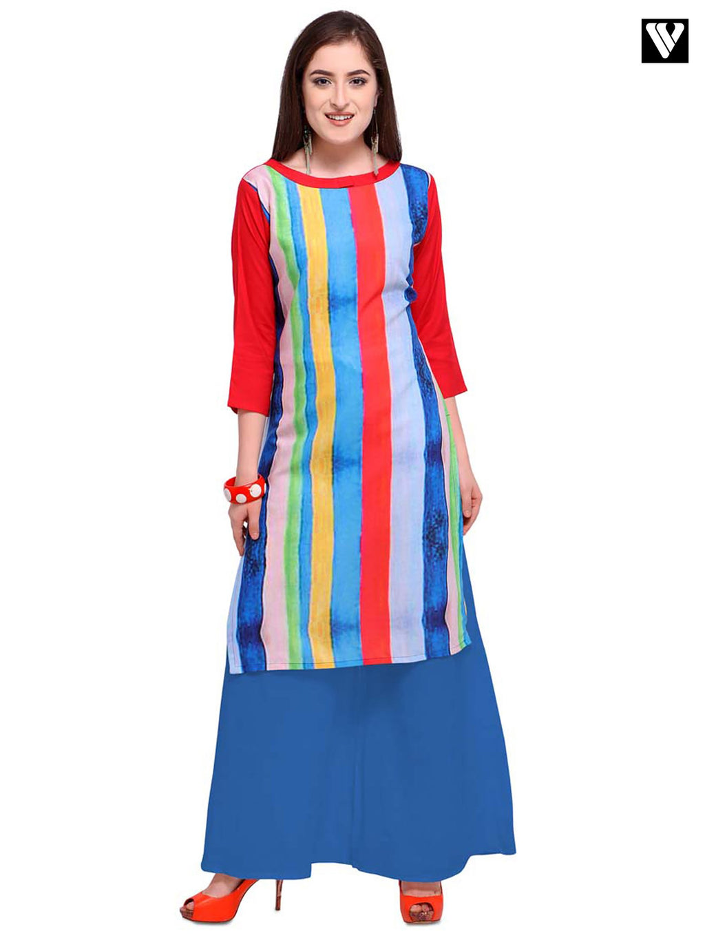 Multi Color Full Sleeves Digital Print Long Kurtis