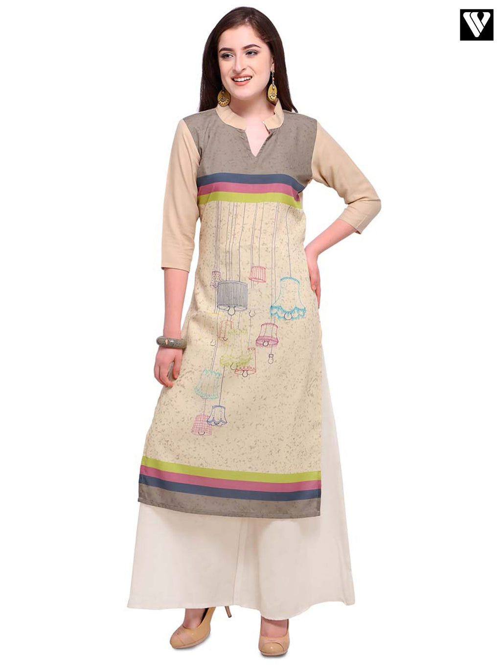 Beige Color Full Sleeves Long Kurtis