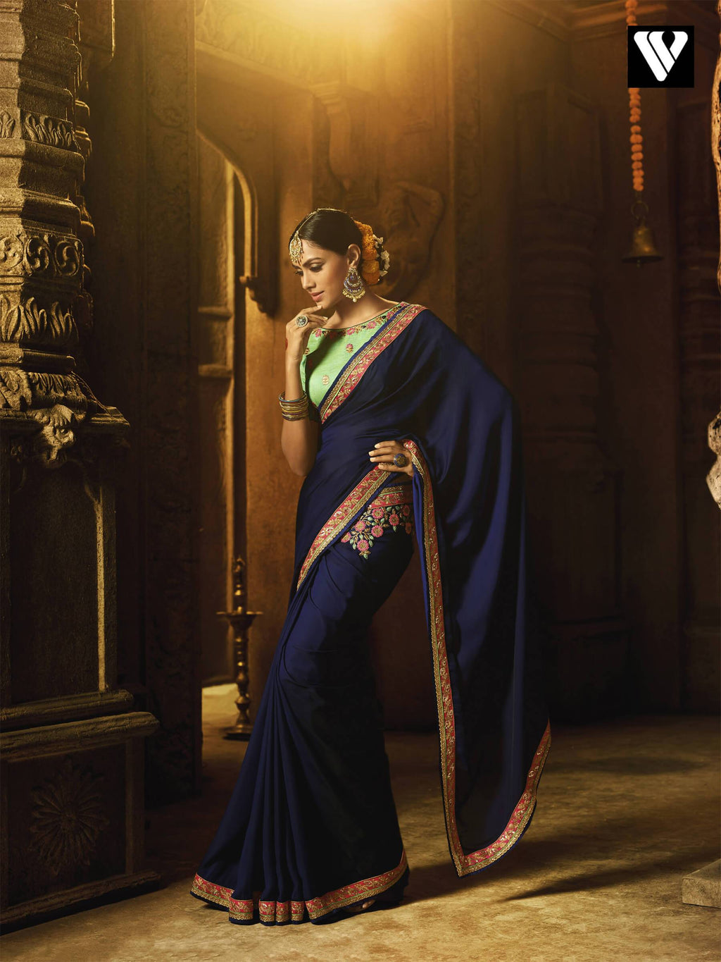 Designer Party Wear Zari Work Barfi Silk Saree In Mehendi