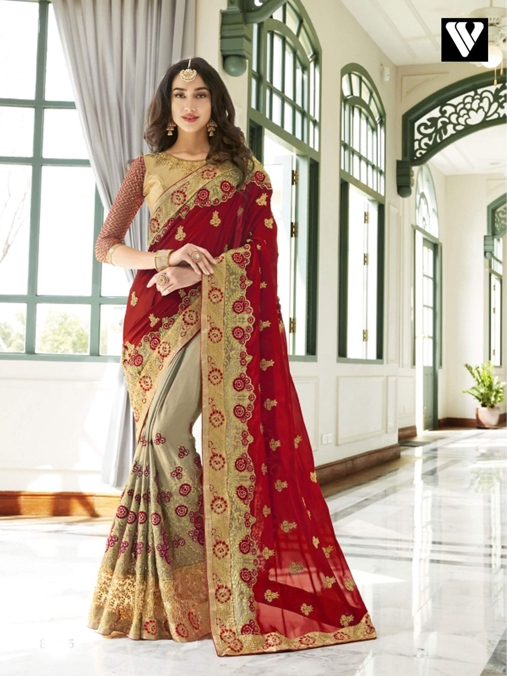Festival Wear Latest Georgette Saree In Red and Grey