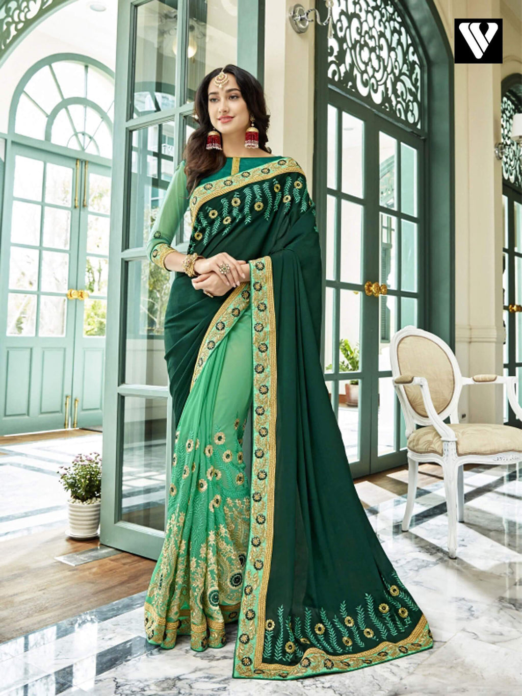 Special Festival Wear Georgette Saree In Green