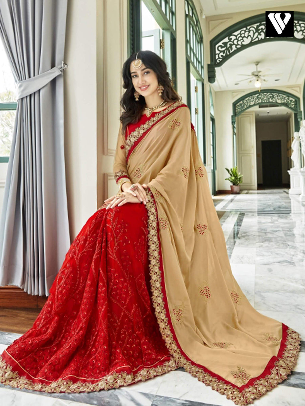 Attractive Design Georgette Saree In Red and Beige
