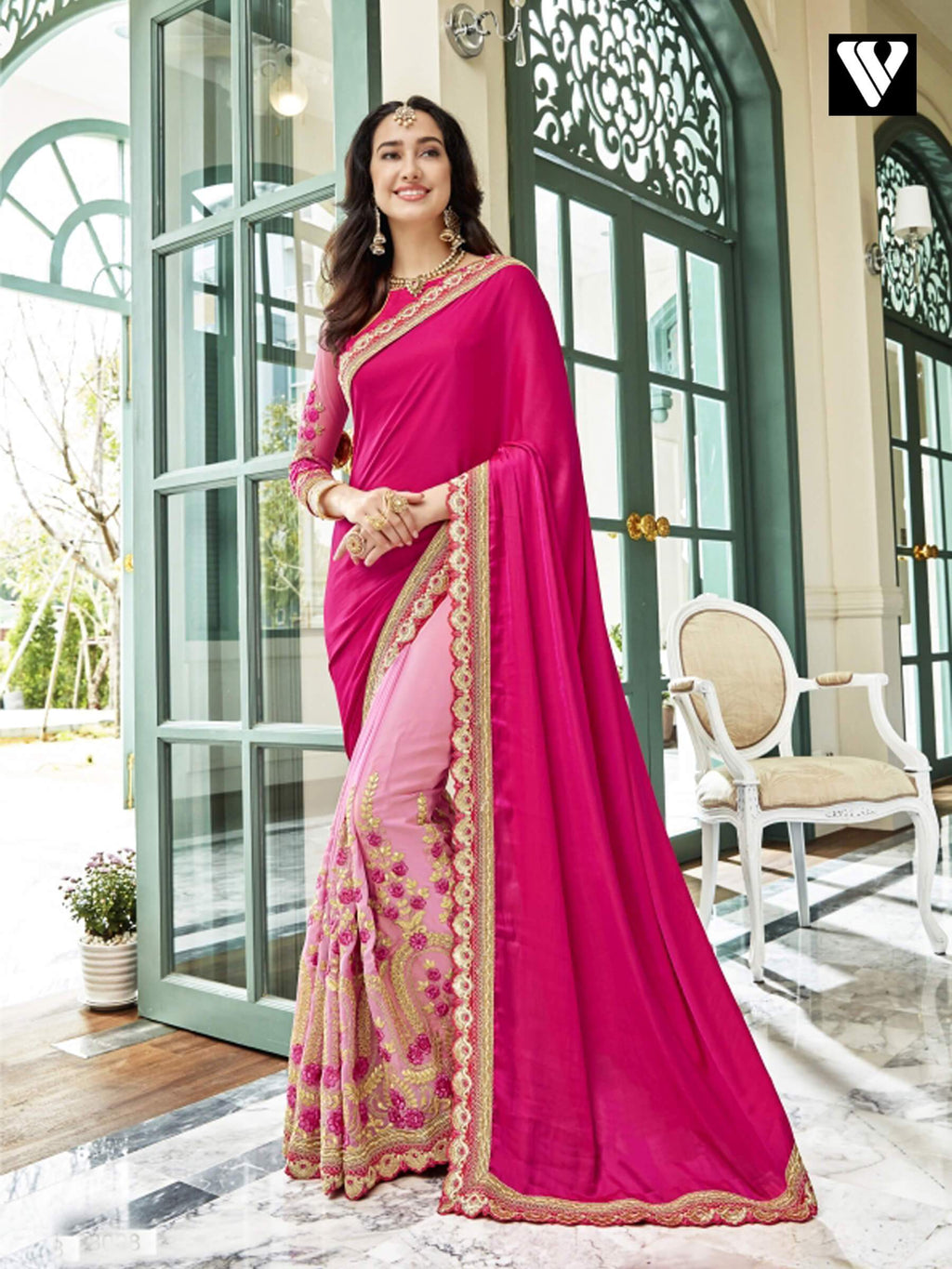 Fancy Design Georgette Saree In Pink