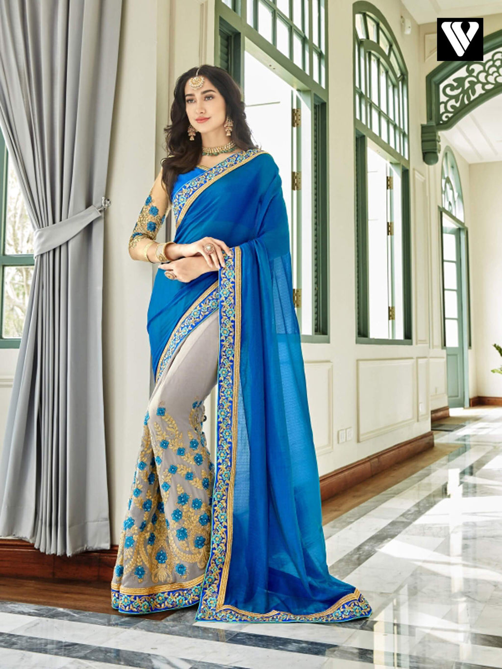 Designer Catalogue Design Georgette Saree In Blue & Grey