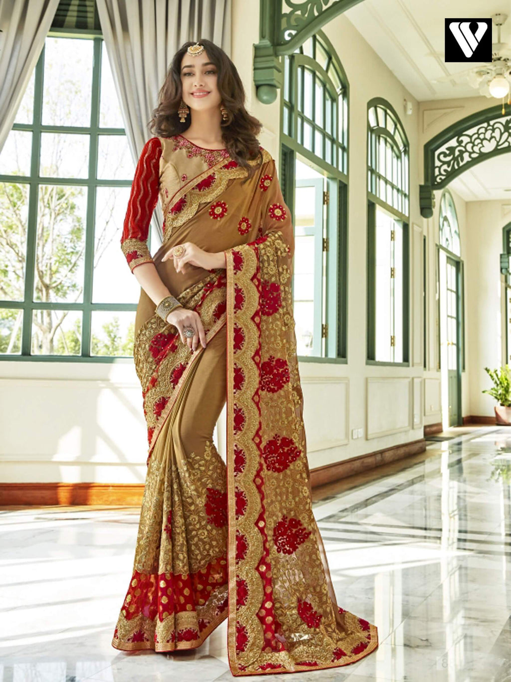 Latest Design Lace Work Georgette Saree In Light Brown