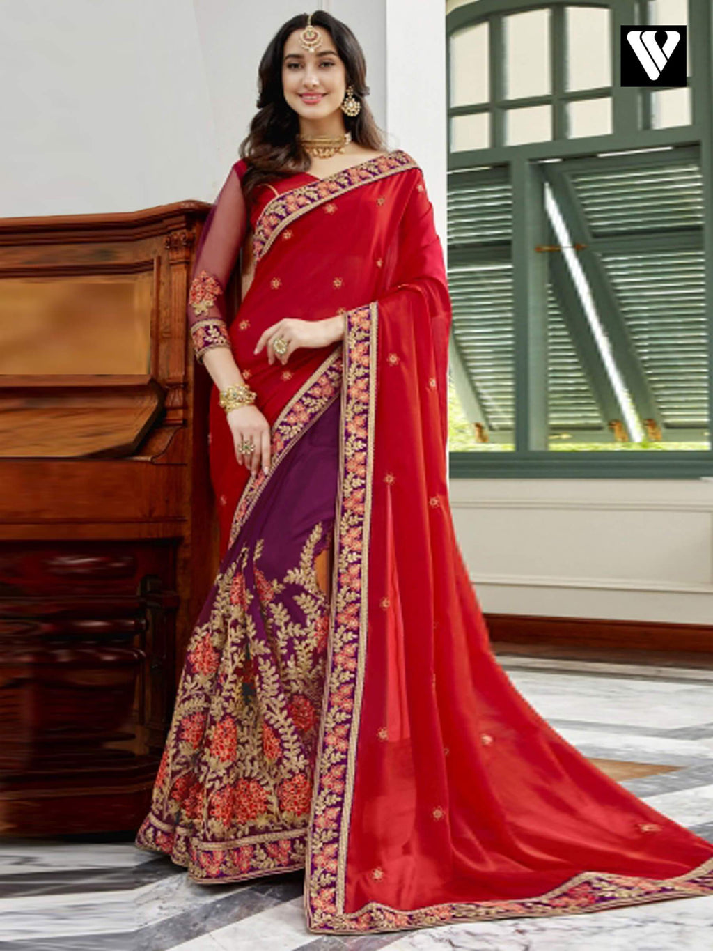 Designer Fancy Georgette Saree In Red and Magenta