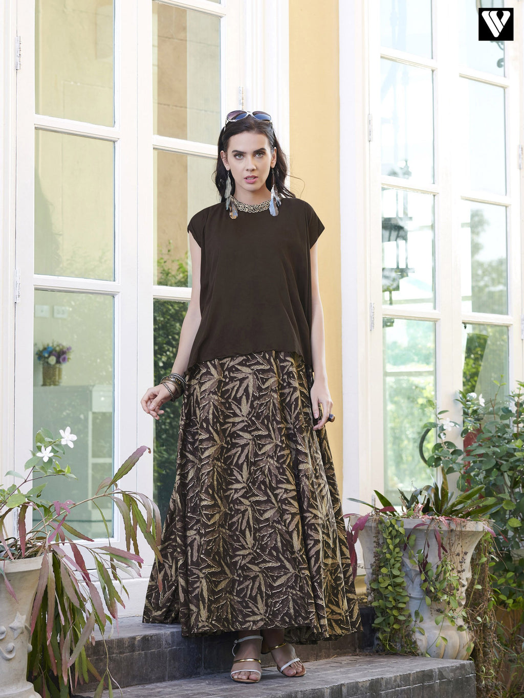Sleeveless Designer Brown Long Kurtis
