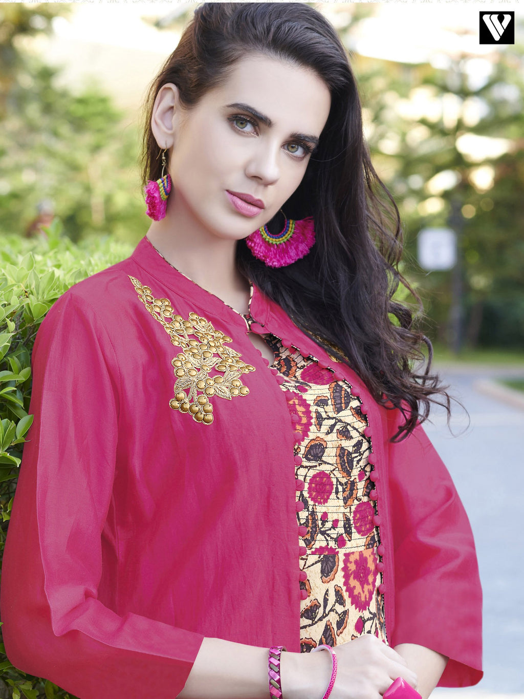 Full Sleeves Pink Color Design Long Kurtis