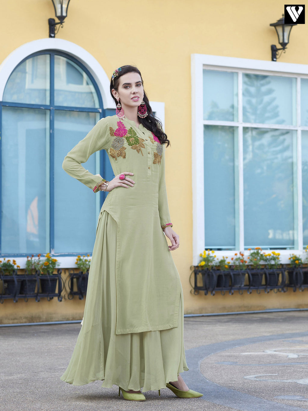 Light Green Heavy Embroidery Work Design Long Kurtis