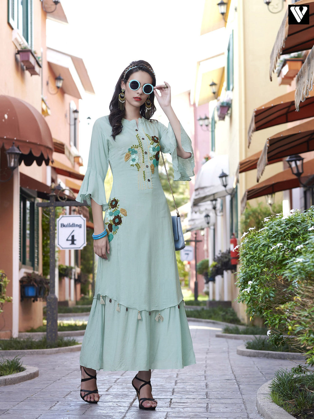 Designer Embroidery Full Sleeves Light Blue Long Kurtis