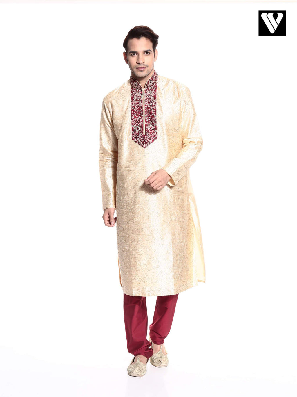 Indian Mens Kurta Payjama in Fawn Color With Dupion Fabric