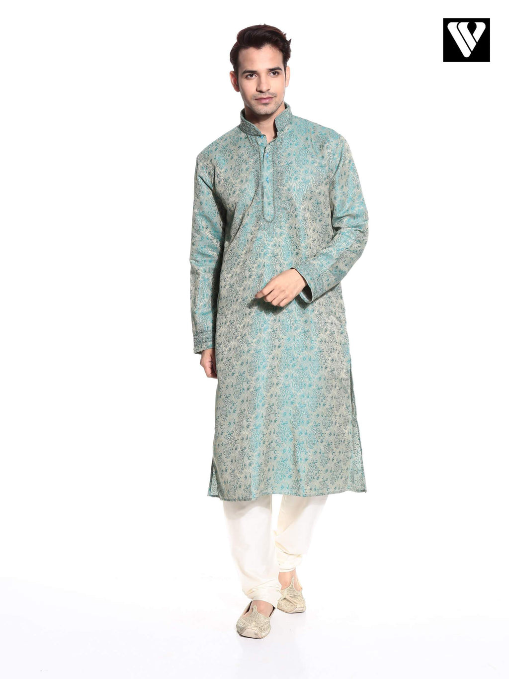 Indian Mens Kurta Payjama in Synthetic With Green