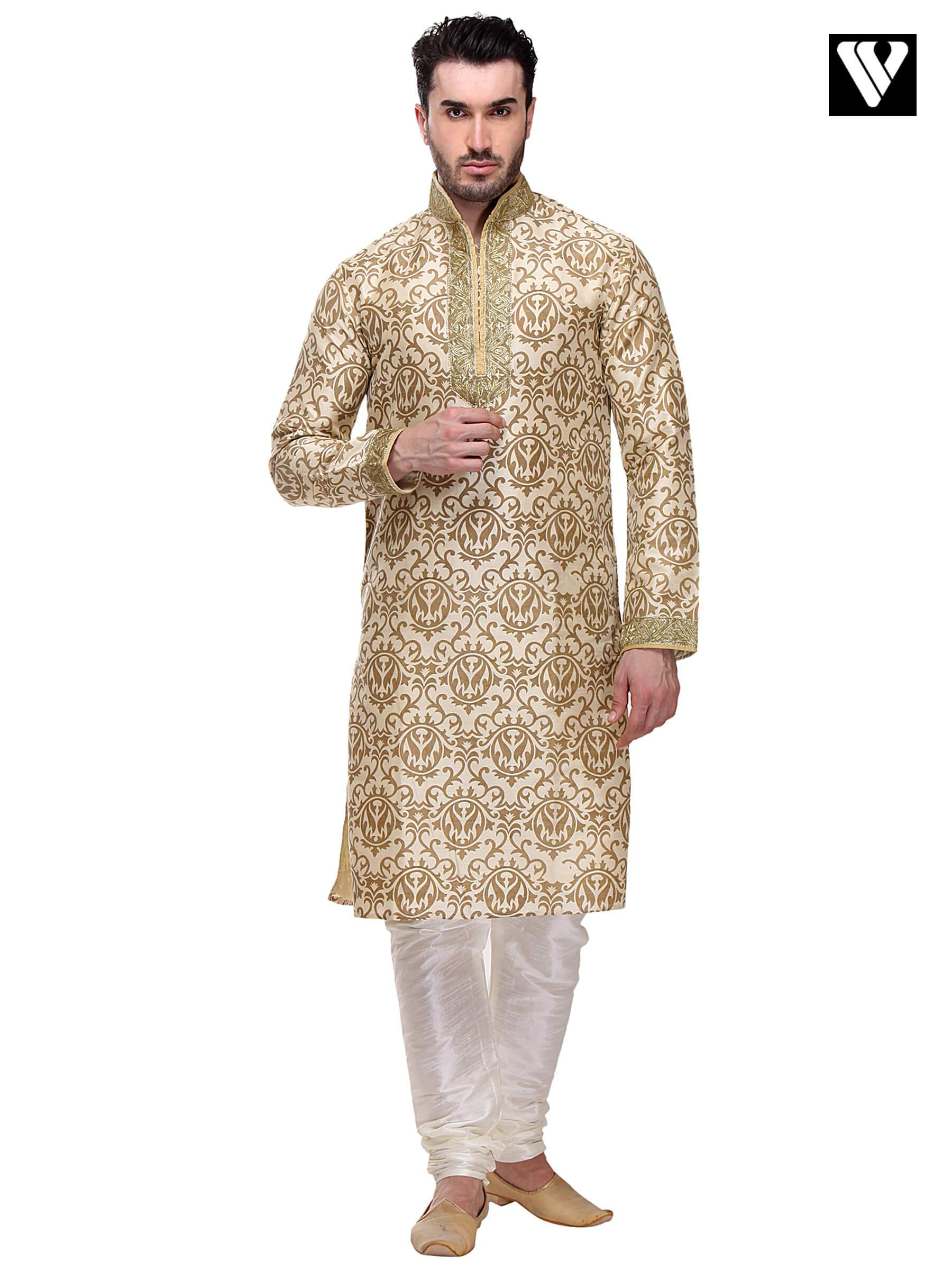 Dupion Art Silk with Gold Indian Mens Kurta Payjama