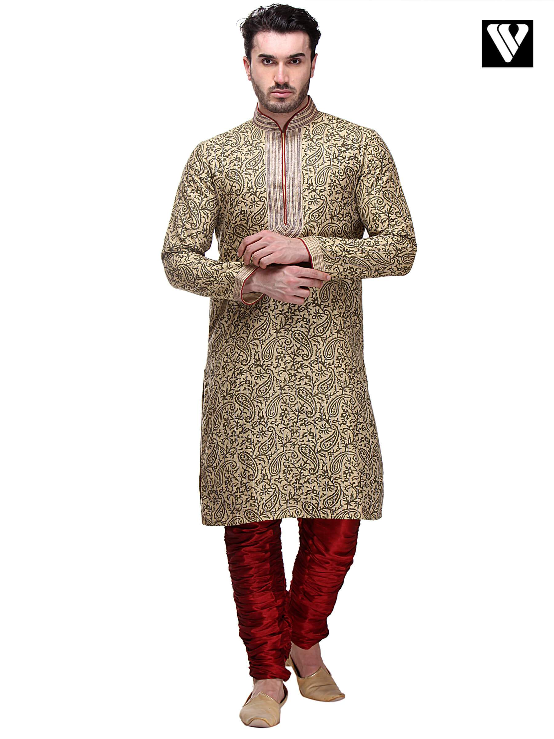 Indian Mens Kurta Payjama in Dupion Art Silk and Veg