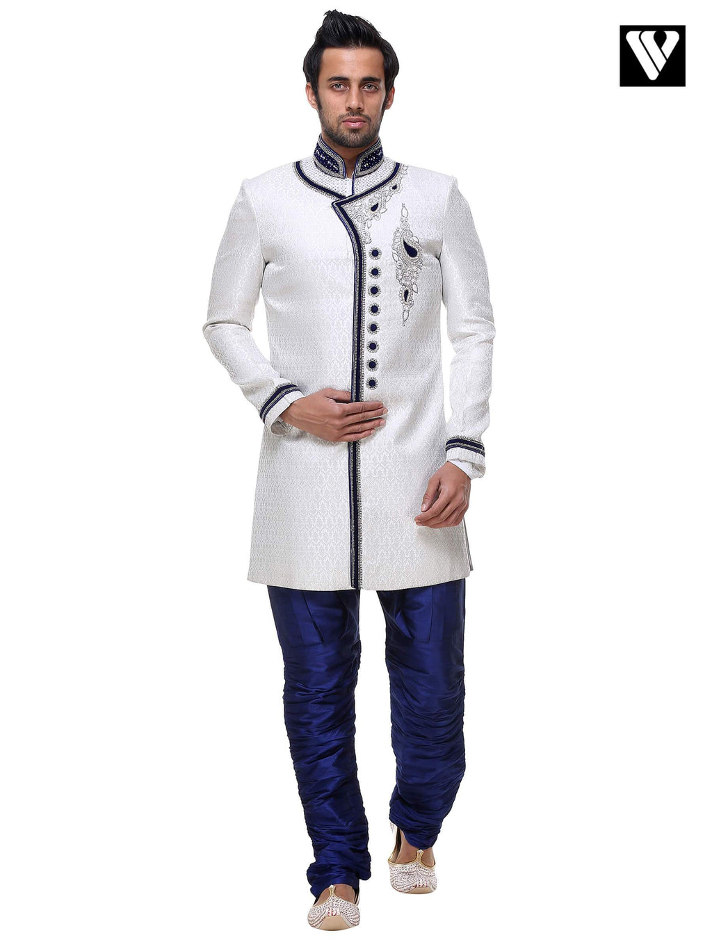Festival Wear Indian Mens Kurta Payjama in Broket and Off White