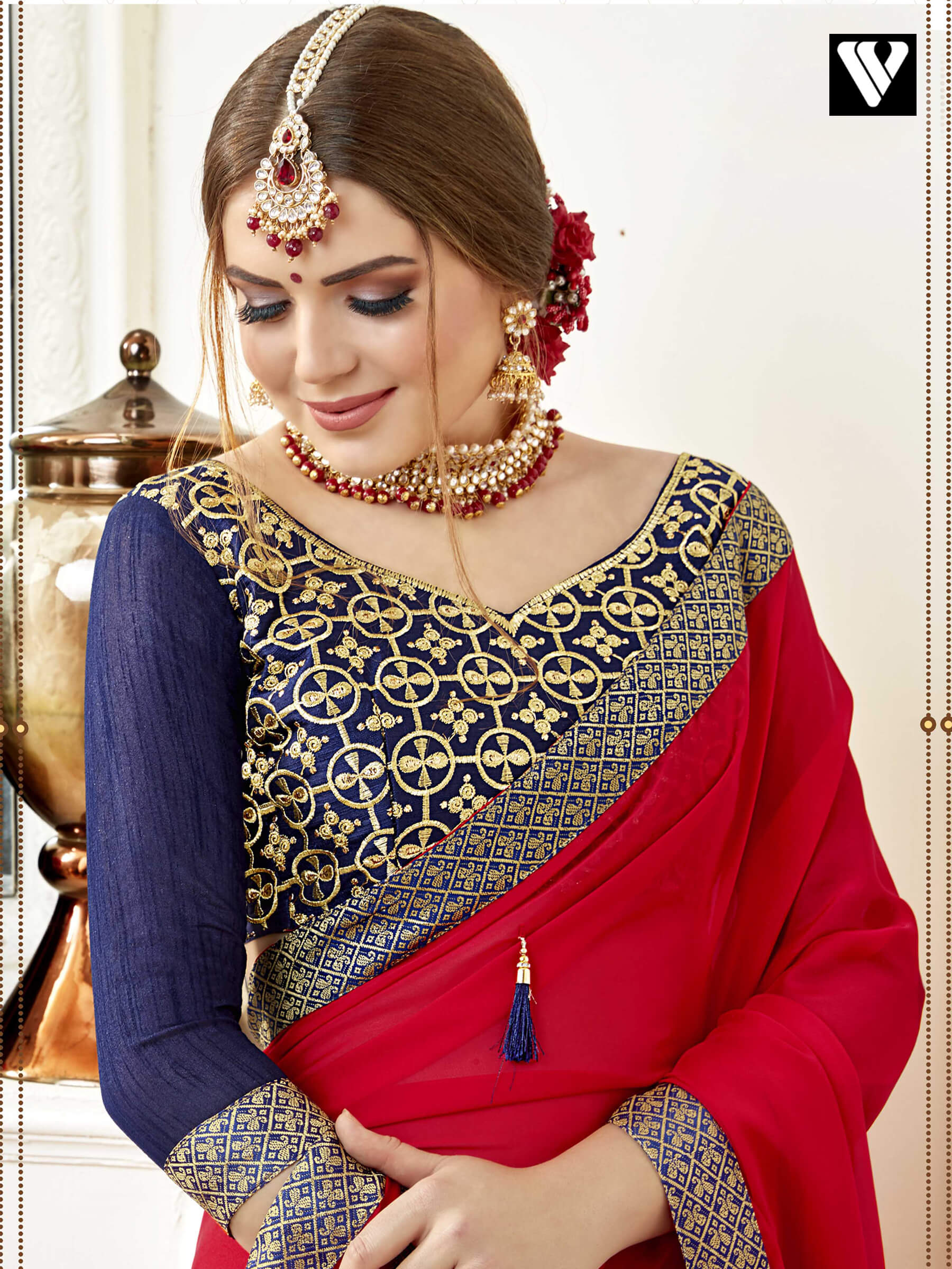 ce4363dfcb0d7 Buy Designer Red Party Style Art Silk Plain Saree With Embroidered ...