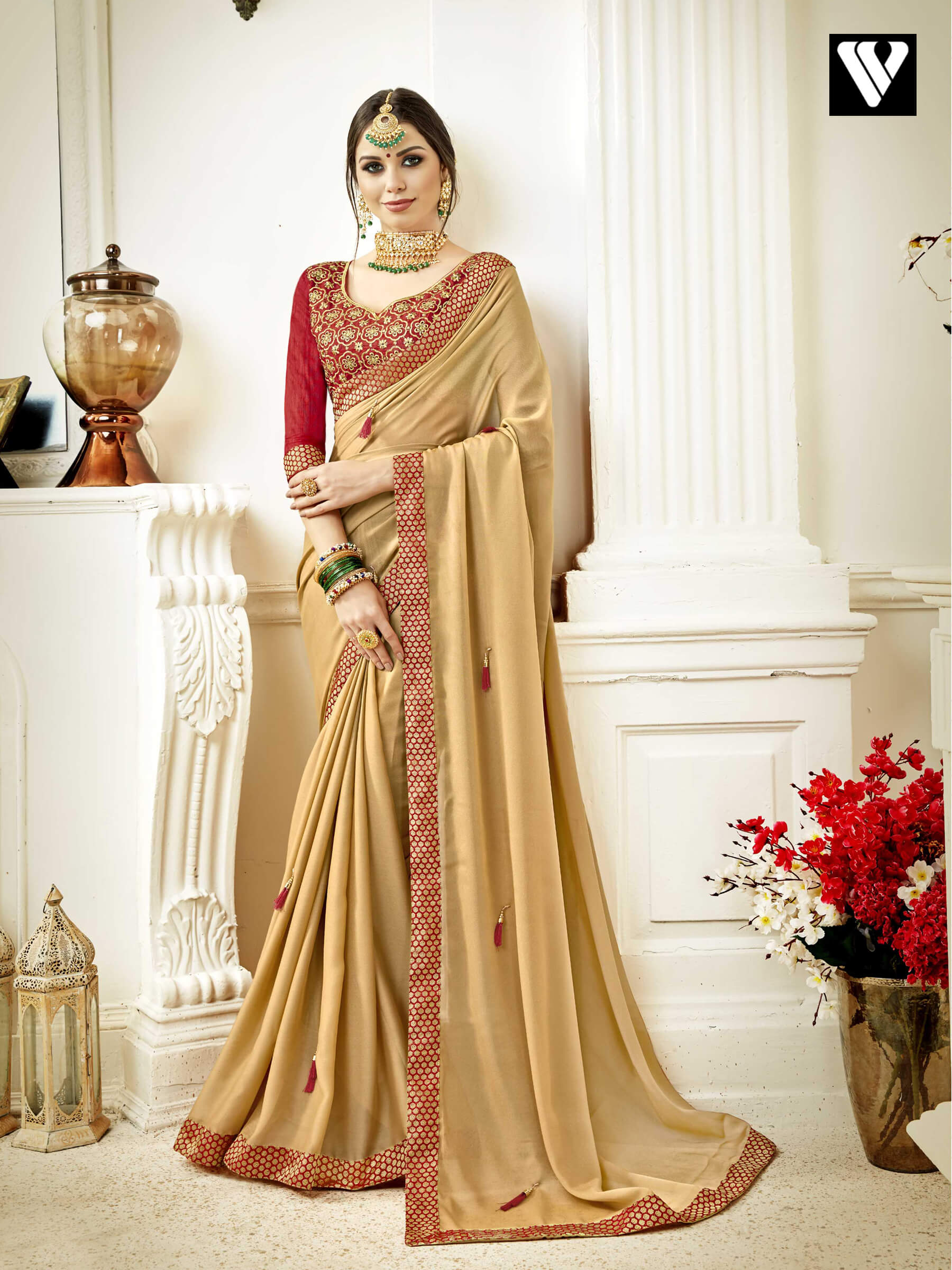 6181a57c5ad Art Silk Designer Party Wear Beige Saree With Fancy Blouse