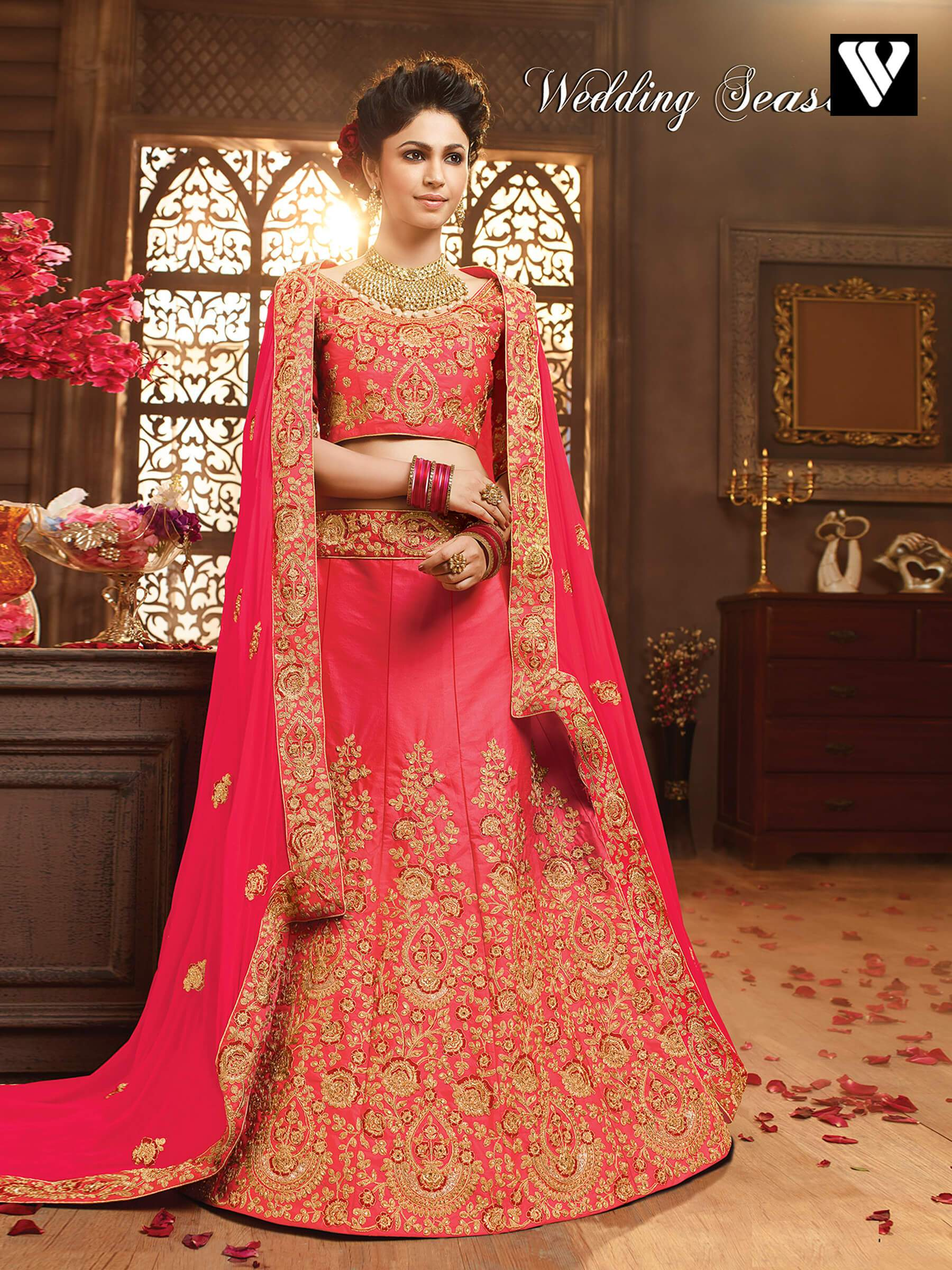 b6efc2dcd9 Buy Pink Art Silk Wedding Lehenga Choli with Dupatta Online ...