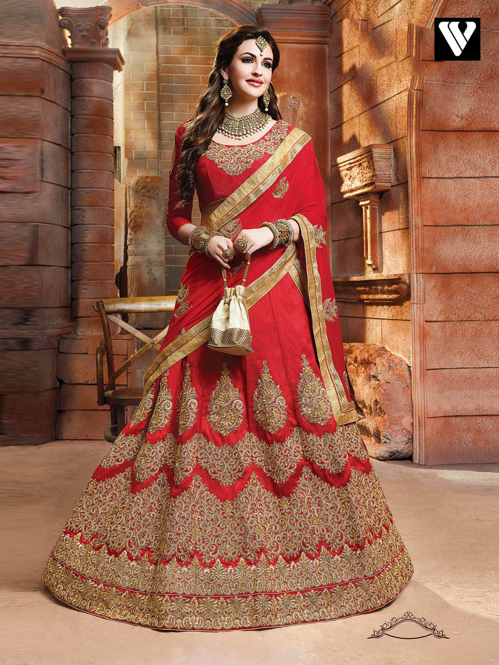 Elegant Design Red Lehenga Saree