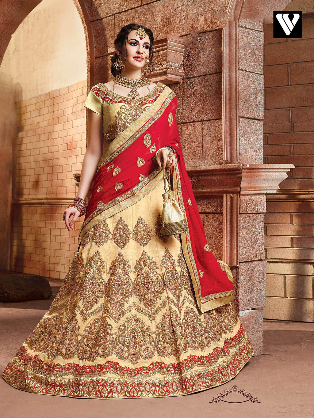 Traditional Look Beige Colored Designer Lehenga Saree