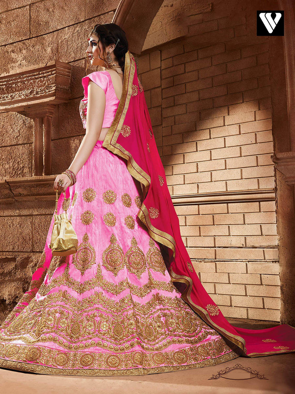 Fashionable Party Wear Pink Color Designer Lehenga Saree